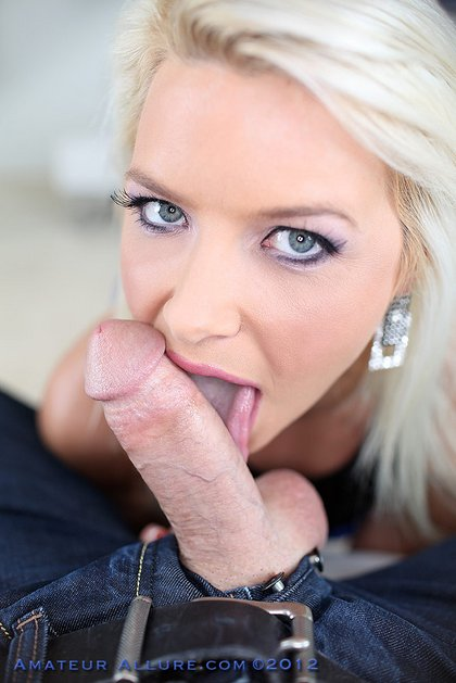 hot blonde licking cock